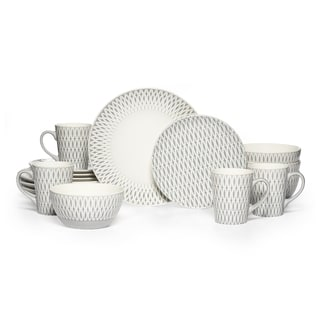 Mikasa Gourmet Basics 'Aurora' Grey Patterned Stoneware 16-piece Dinnerware Set (Service for 4)