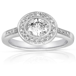 Eloquence 14k White Gold 1ct TDW Contemporary Oval Diamond Ring (H-I, I1-I2)