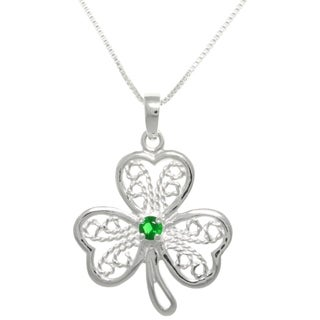 Sterling Silver Filigree Cubic Zirconia Lucky Clover Pendant Necklace