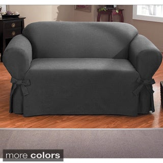 QuickCover Bruce One-piece Relaxed Fit Loveseat Slipcover with Ties