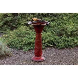 Bird and Leaf Red Glaze Metal Bird Bath