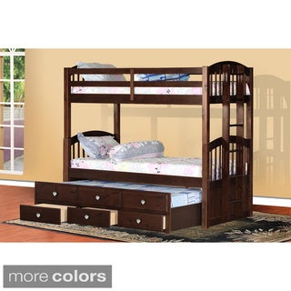 Pine Wood 3-level Sleeper Twin Bunk Bed with Storage Drawers