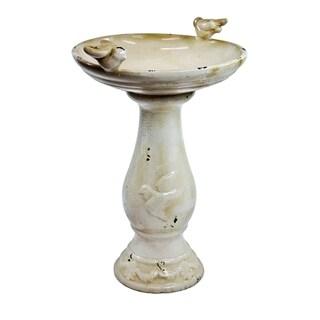 Alpine Corporation Light Brown Pedestal Bird Bath, 24-Inches