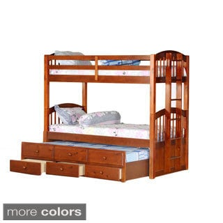 Tri-level Bunkbed Trundle with Storage Drawers