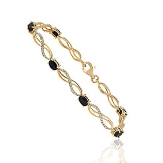Dolce Giavonna Gold Over Sterling Silver Sapphire and Diamond Accent Infinity Bracelet