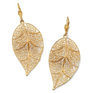 Yellow Goldplated Brass Filigree Leaf Drop Earrings