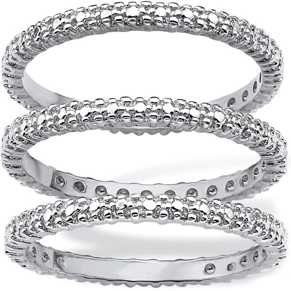 Diamond Accent Platinum-Plated 3-Piece Stackable Eternity Band Set