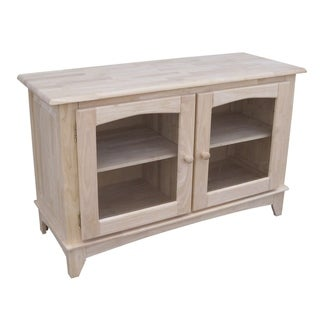 Unfinished Solid Parawood Glass-door TV Stand