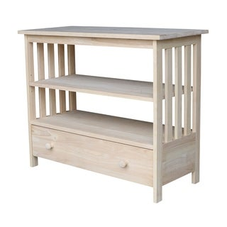 Unfinished Solid Parawood Mission Entertainment Stand