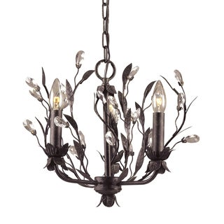 Elk Lighting 'Circeo' 3-light Vine and Crystal Droplet Chandelier