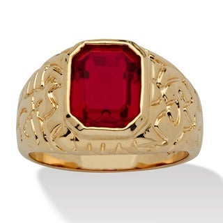 Men's Emerald-Cut Simulated Ruby Nugget-Style Ring 14k Yellow Gold-Plated Sizes 8-16 (More options available)