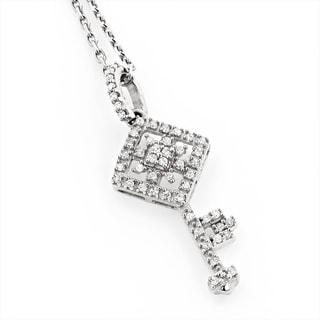 Luxurman 14k Gold 1/5ct TDW White Diamond Key Pendant Necklace