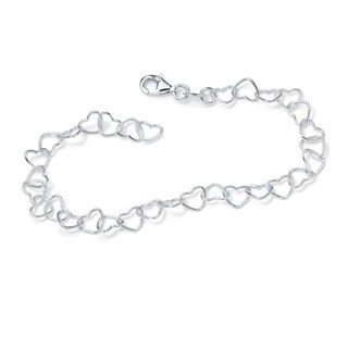 "Sterling Silver Heart Link Ankle Bracelet 11"" Tailored"