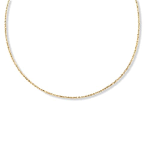 """18k Gold over Sterling Silver Diamond-Cut Rope Chain Necklace 24"""" Tailored"""