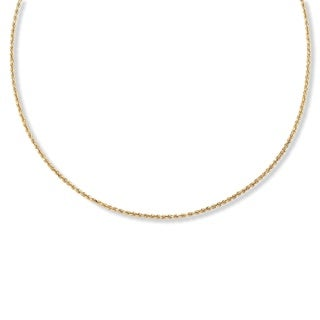 "PalmBeach 18k Gold over Sterling Silver Diamond-Cut Rope Chain Necklace 24"" Tailored"