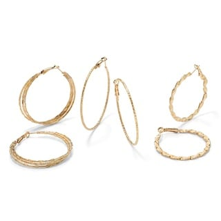 PalmBeach 3 Pair Hoop Earrings Set in Yellow Gold Tone Tailored