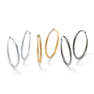 PalmBeach 3 Pair Textured Hoop Earrings Set in Tri-Tone Tailored