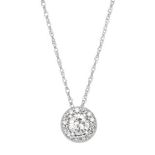 SummerRose 14k White Gold 1/3ct TDW White Diamond Halo Solitaire Necklace