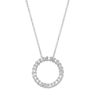 SummerRose 14k White Gold 1/4ct TDW Round-cut White Diamond Circle Pendant Necklace