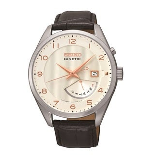Seiko Men's SRN049 'Kinetic' Black Leather Watch