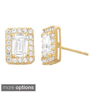Gioelli 10k White or Yellow Gold Emerald Pave Created White Sapphire Earrings