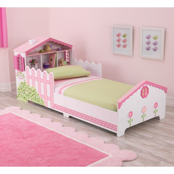 Shop Dollhouse Pink And White Toddler Bed Free Shipping