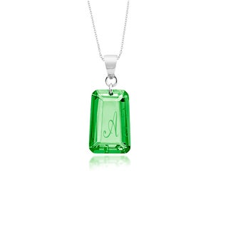 Sterling Silver Emerald Green Cubic Zirconia May Birthstone Intial Necklace