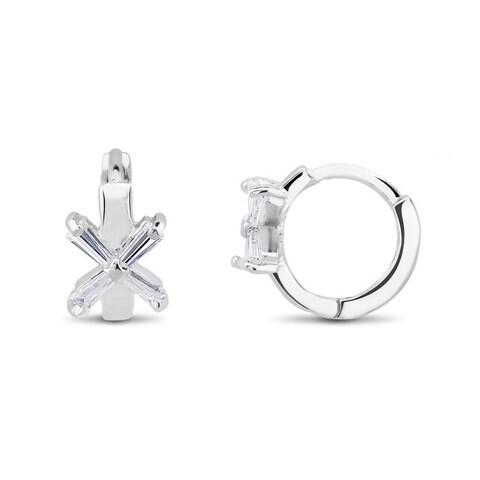 Sterling Silver Cubic Zirconia X Cuff Earrings