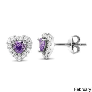 Sterling Silver Cubic Zirconia With Birthstone Heart Stud Earrings