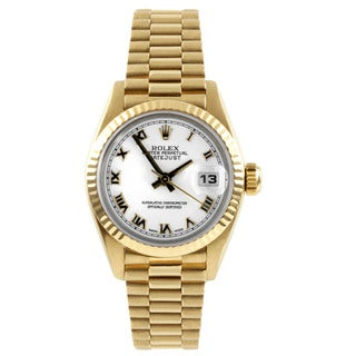 Pre-Owned Rolex Women's President Yellow Gold Fluted Bezel Watch