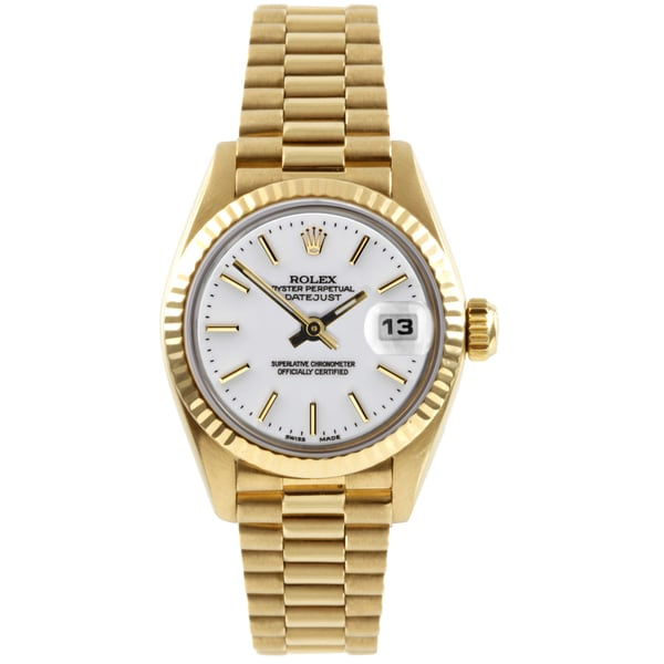 Pre-owned Rolex Women's President Yellow Gold White Dial Automatic Watch