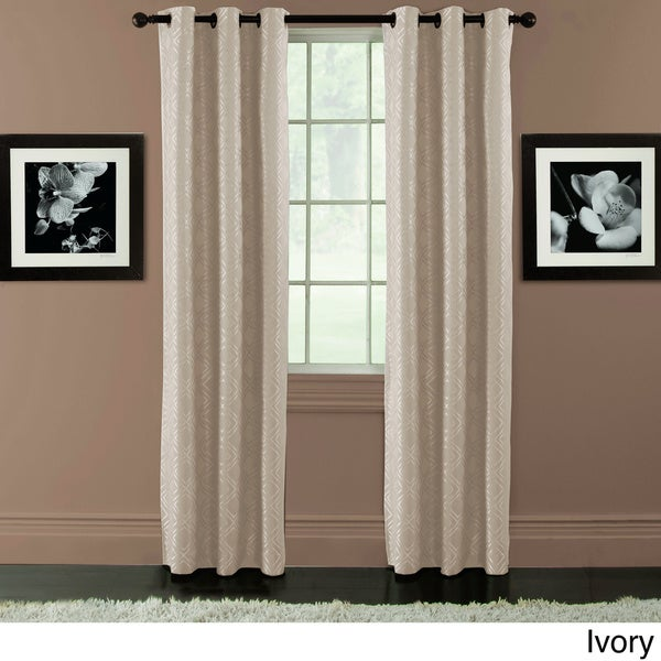 Arista Diamond Jacquard Blackout Grommet Top Curtain Panel Pair