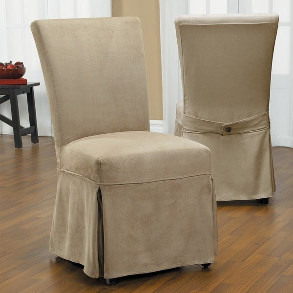 Wonderful QuickCover Luxury Suede Chair Relaxed Fit Long Dining Slipcover With  Buttons   Free Shipping Today   Overstock.com   16480001