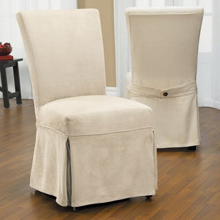 Luxury Suede Chair Relaxed Fit Long Dining Slipcover with Buttons