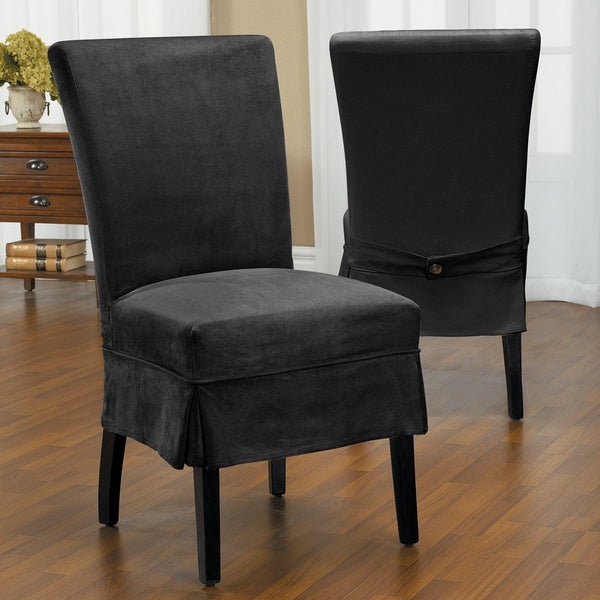 QuickCover Luxury Suede Mid Pleat Relaxed Fit Dining Chair Slipcover With Buttons