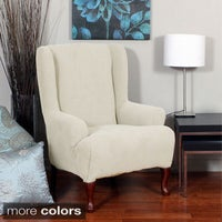 wing chocolate in stretch buy bath from beyond chair bed basketweave wingback slipcover