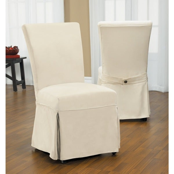 quickcover duck long relaxed fit dining chair slipcover with buttons