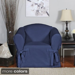 QuickCover Duck One-piece Relaxed Fit Chair Slipcover with Arm Ties