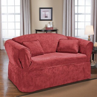 QuickCover Luxury Suede One-piece Relaxed Fit Wrap Loveseat Slipcover