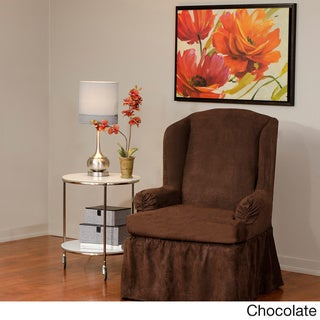 Luxury Suede One-piece Relaxed Fit Wing Chair Slipcover