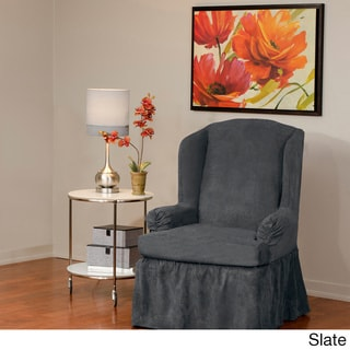 QuickCover Luxury Suede One-piece Relaxed Fit Wing Chair Slipcover