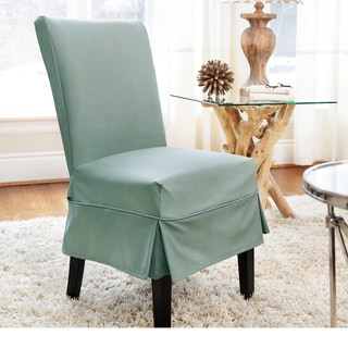 QuickCover Twill Mid-pleat Relaxed Fit Dining Chair Slipcover with Buttons