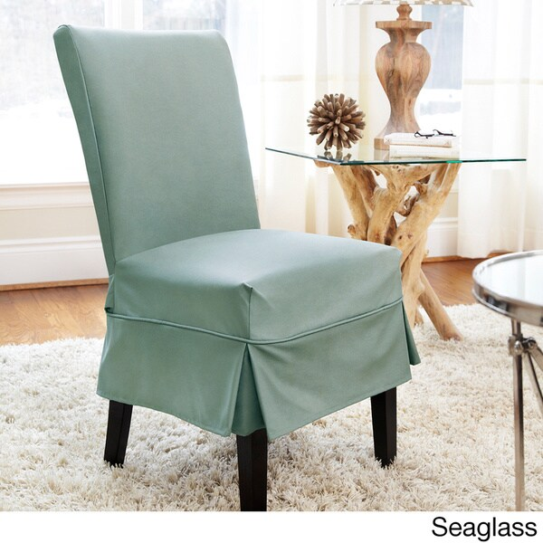 Dining Room Chair Back Covers: Shop Twill Mid-pleat Relaxed Fit Dining Chair Slipcover