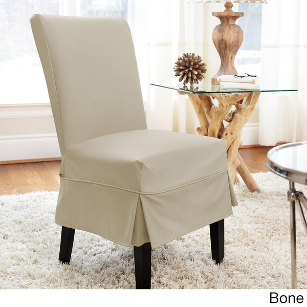 QuickCover Twill Mid Pleat Relaxed Fit Dining Chair Slipcover With Buttons