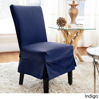 Twill Mid-pleat Relaxed Fit Dining Chair Slipcover with Buttons