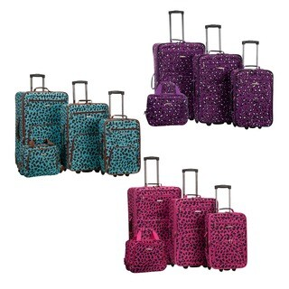 Rockland Leopard 4-piece Expandable Wheeled Luggage Set