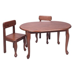 Gift Mark Home Kids Queen Anne Oval Cherry Table And Chair Set