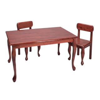 gift mark home kids natural hardwood rectangle cherry table and chair set