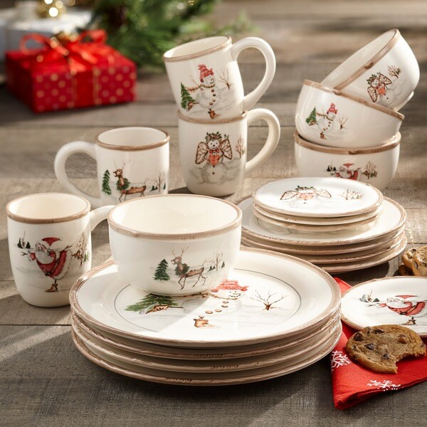 Christmas Plate Set.American Atelier Christmas 20 Piece Dinner Set