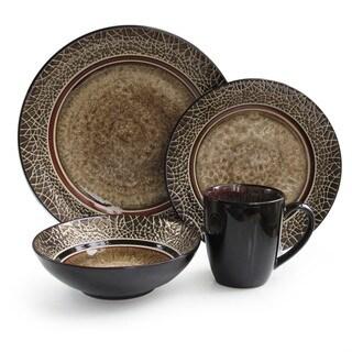 American Atelier Markham Round 16-piece Dinner Set  sc 1 st  Overstock & Gourmet Basics Linden Brown Stoneware 16-piece Dinnerware Set ...